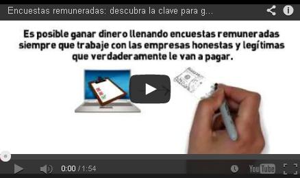 Video que explica como ganar dinero con encuestas remuneradas en línea